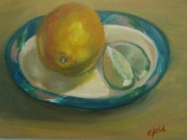 acrylic painting of an orange and lime slices