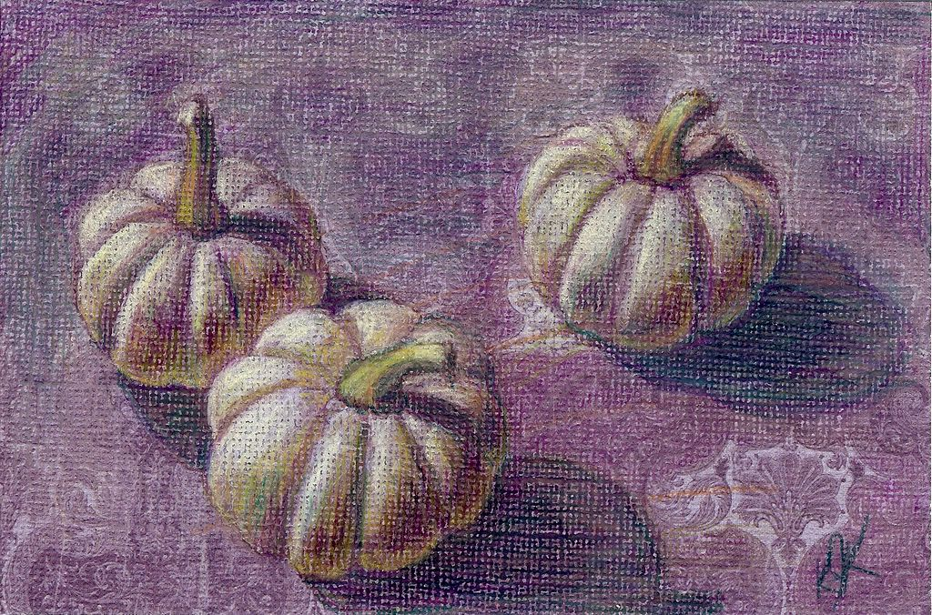 colored pencil drawing of pumpkins