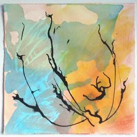 small abstract painting in acrylic and ink