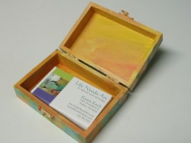 painted wooden box business card holder by life needs art