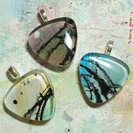 Glass Tile Pendant Necklaces by Life Needs Art