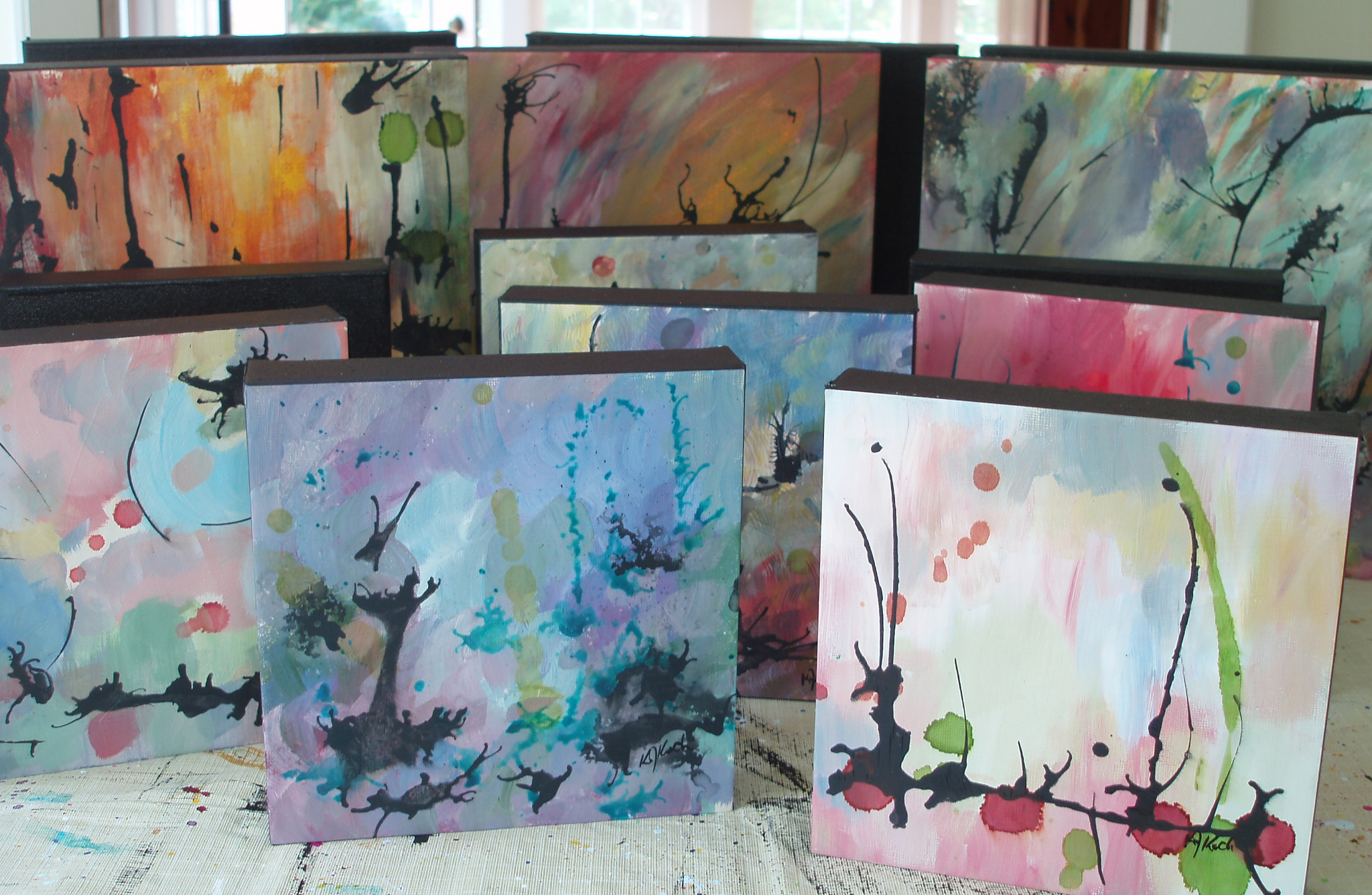 abstract expressionist paintings in acrylic and ink