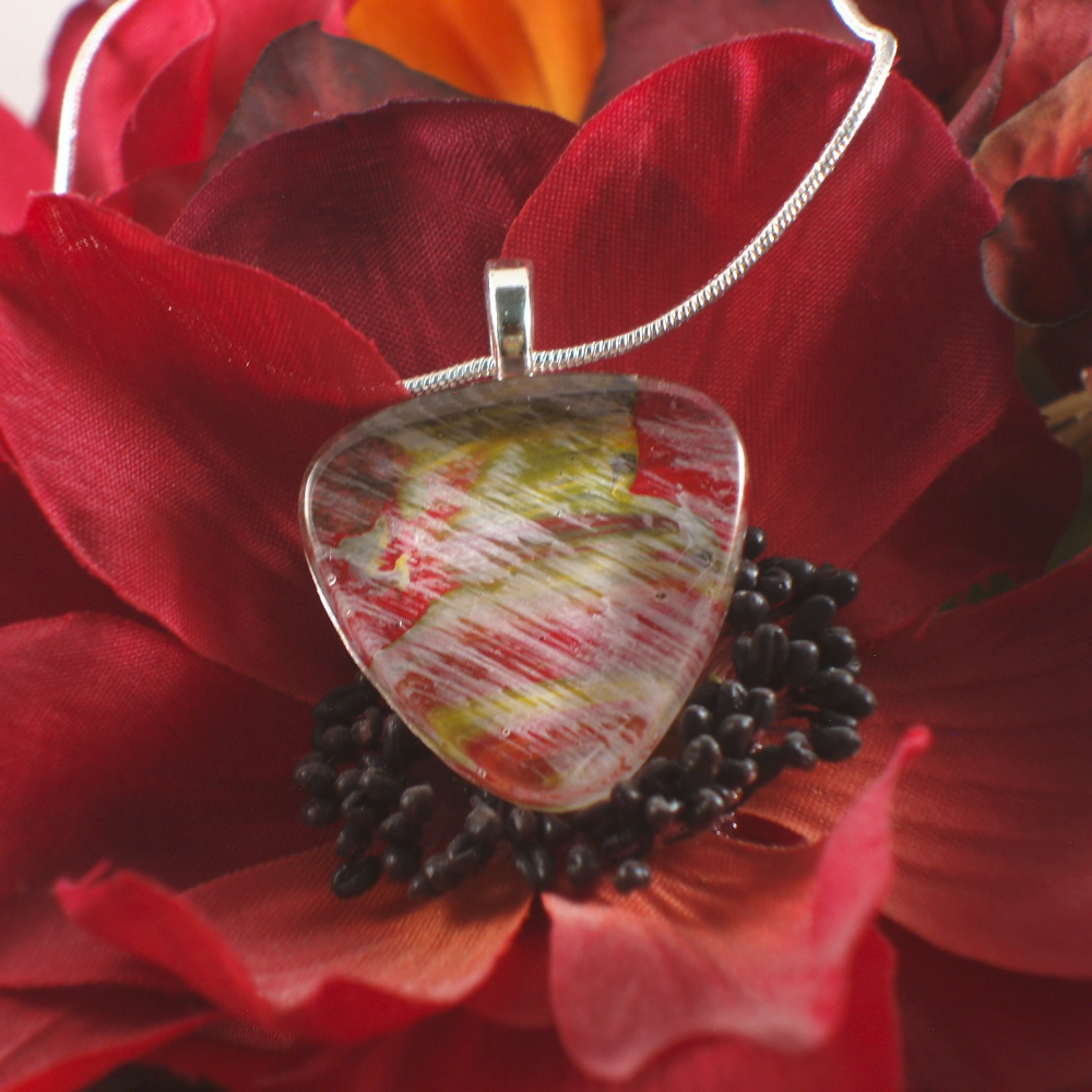 original Hand-painted glass tile necklace
