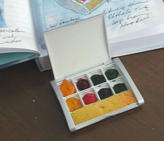 filled watercolor palette