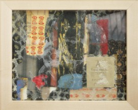 Small Packets, a collage, framed