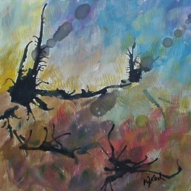 Paths through pathless woods, abstract painting by Karen Koch, Life Needs Art