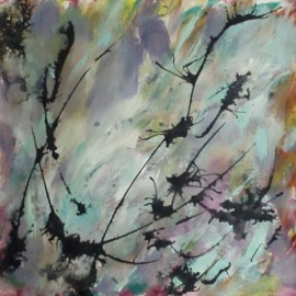 abstract acrylic painting lavender memories life needs art