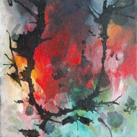 abstract acrylic painting campfires memories
