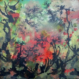 abstract acrylic painting, 8x8 inches, Thickets, life needs art