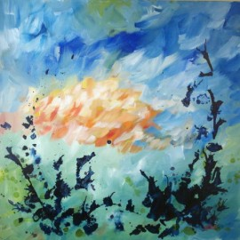 Over the Lake, abstract painting, life needs art