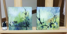 Two small abstract landscape paintings by Karen Koch, Life Needs Art