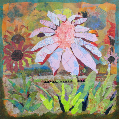 In The Garden, collage, by Ohio Artist Karen Koch