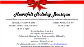 Heartfelt Holiday Boutique, Nov. 8-9