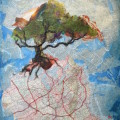 Roots and Roads 1, a collage, by Karen Koch