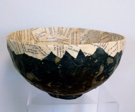 Paper Mache Bowl - Black and Poetry
