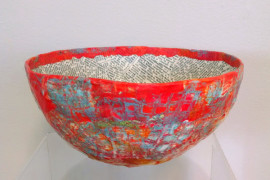 Paper Mache Bowl - Red with Book Pages