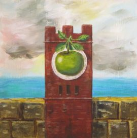 Hudson clocktower in the style of Magritte