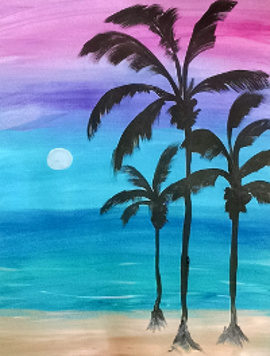 Palm Trees, painting party project, Karen Koch, Hudson OH