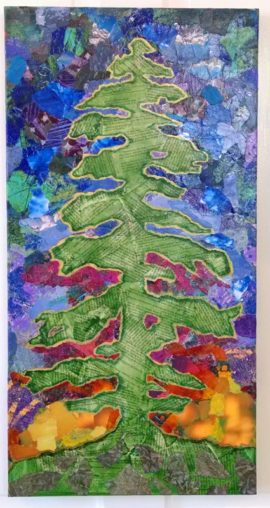 Tall Tree, collage, by Karen Koch