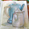 coffee pots sketch Karen Koch