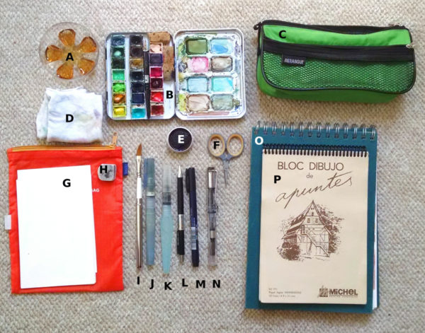 art supply kit for urban sketchers chicago: what i used