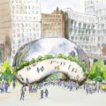 Urban sketch of the Bean in Chicago